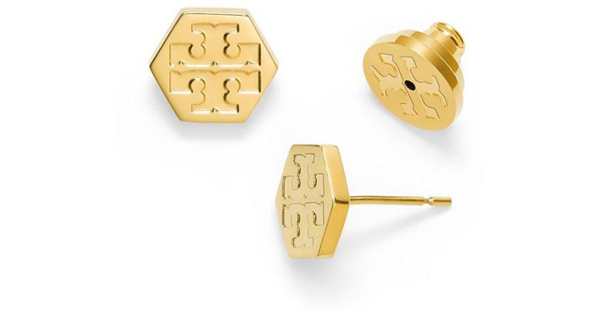 c5cde54ed Tory Burch Hexagon Logo Stud Earring in Metallic - Lyst