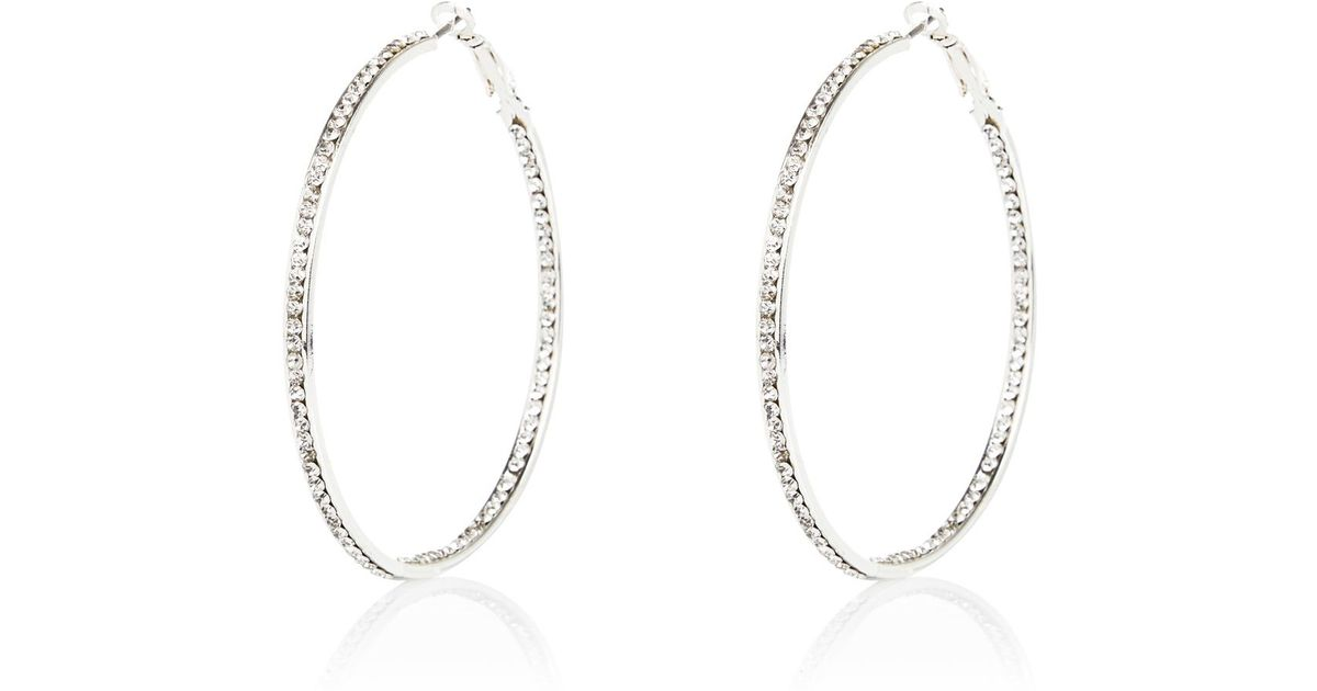 River island Silver Tone Rhinestone Hoop Earrings in Metallic   Lyst