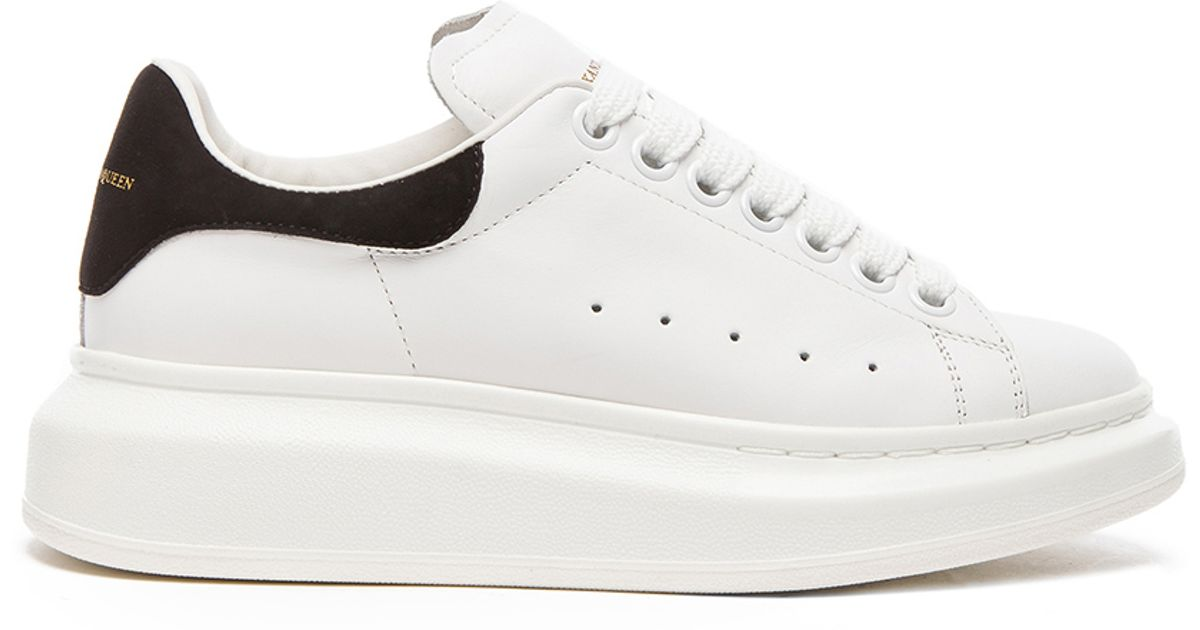 758b0c58e6c Alexander McQueen Platform Lace Up Leather Sneakers in White - Lyst