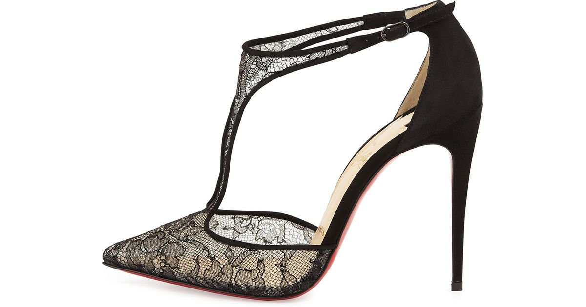 replica christian laboutin - Christian louboutin Salonu Chantilly Lace T-strap Red Sole Pump in ...