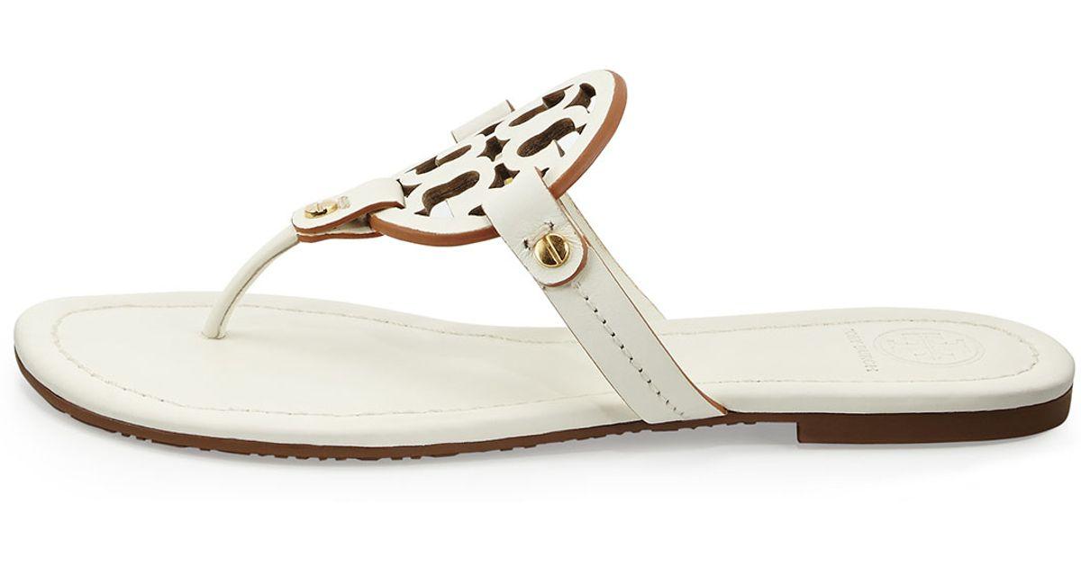 a66e8a56e2cc7 Lyst - Tory Burch Miller Leather Logo Thong Sandal in White