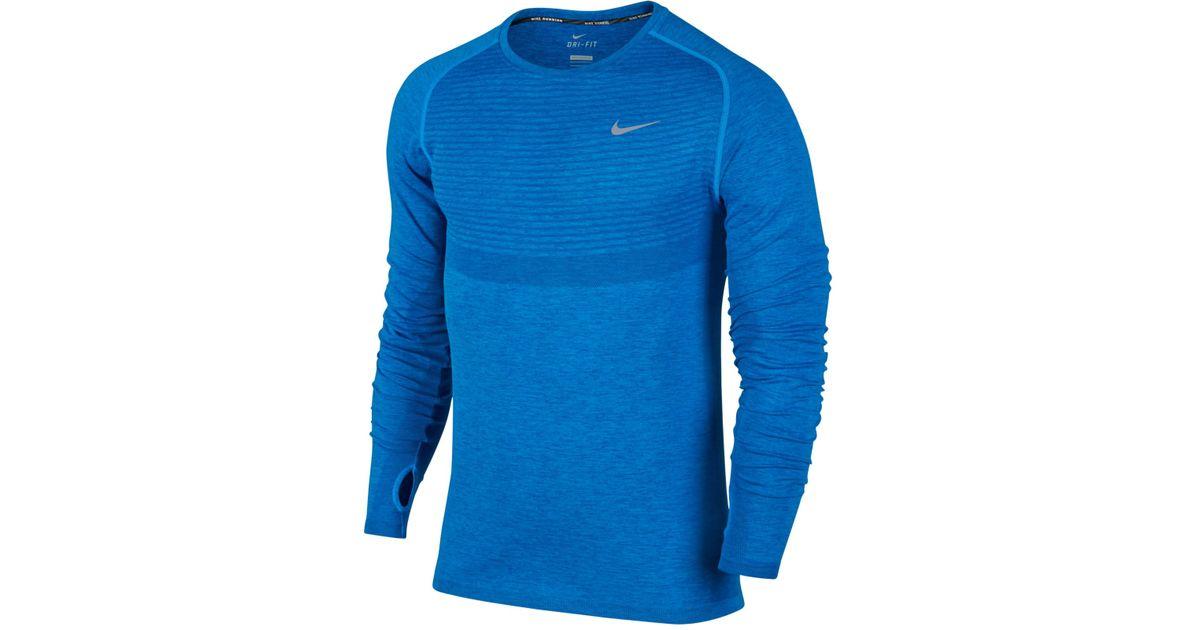0f44cfef Nike Men's Dri-fit Knit Running Long-sleeve Shirt in Blue for Men - Lyst