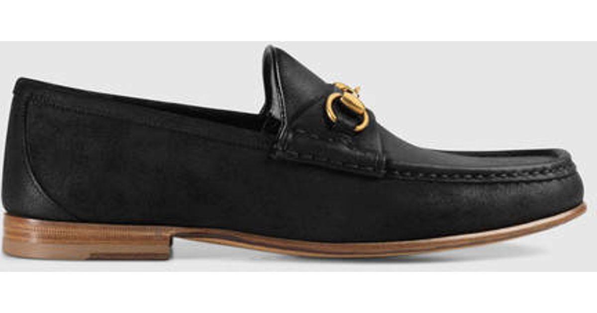 Lyst Gucci 1953 Horsebit Suede Loafer In Black For Men