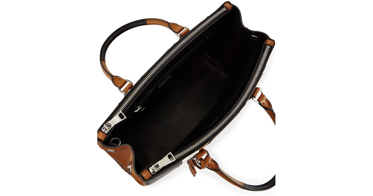 feed18f3dcf3f0 Prada Saffiano Baiadera Striped Galleria Tote Bag in Black - Lyst