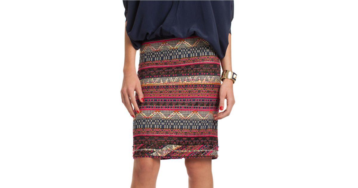 Lyst - Trina turk Fair Isle Printed Knit Skirt