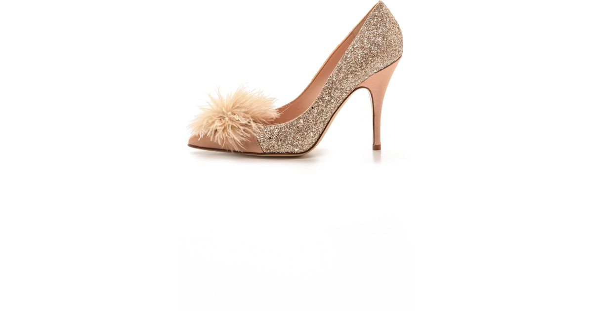 913161b531ee Lyst - Kate Spade Lilo Marabou Glitter Pumps - Rose Gold in Pink