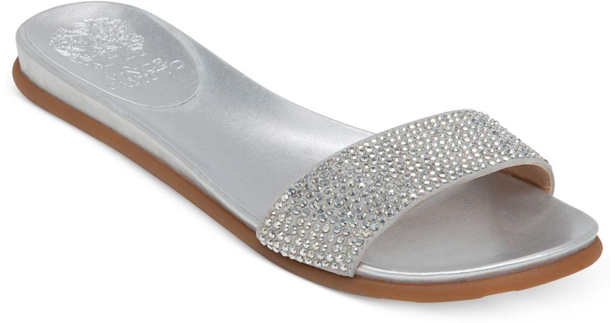66602903eeb Lyst - Vince Camuto Endilla Flat Slide Sandals in Metallic