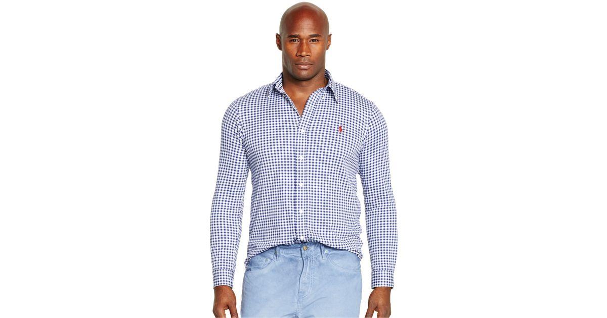 polo ralph lauren big tall gingham knit dress shirt in