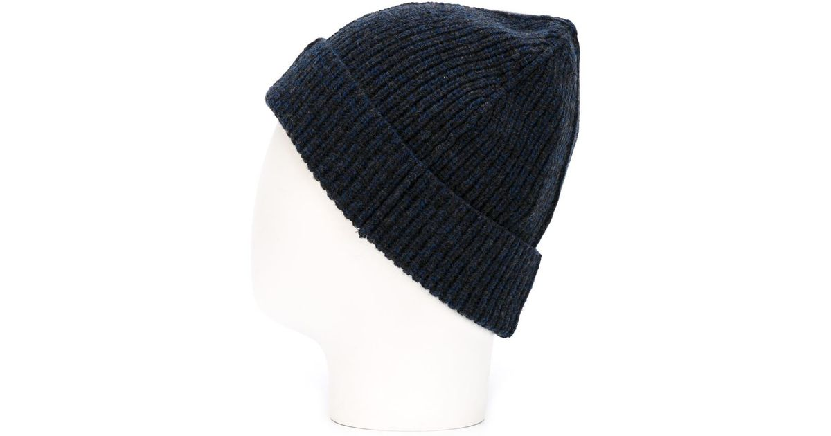 76a0cfc86c1 Lyst - Lanvin Turned-up Ribbed Beanie in Blue for Men