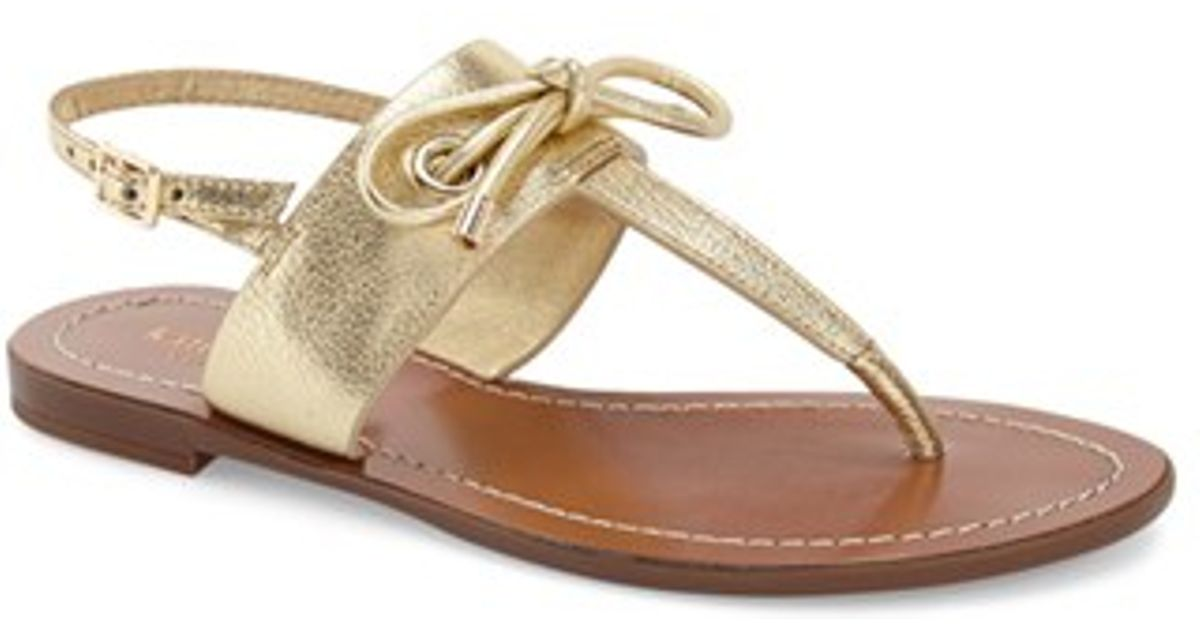b384a5189 Lyst - Kate Spade Carolina Leather Thong Sandals in Metallic