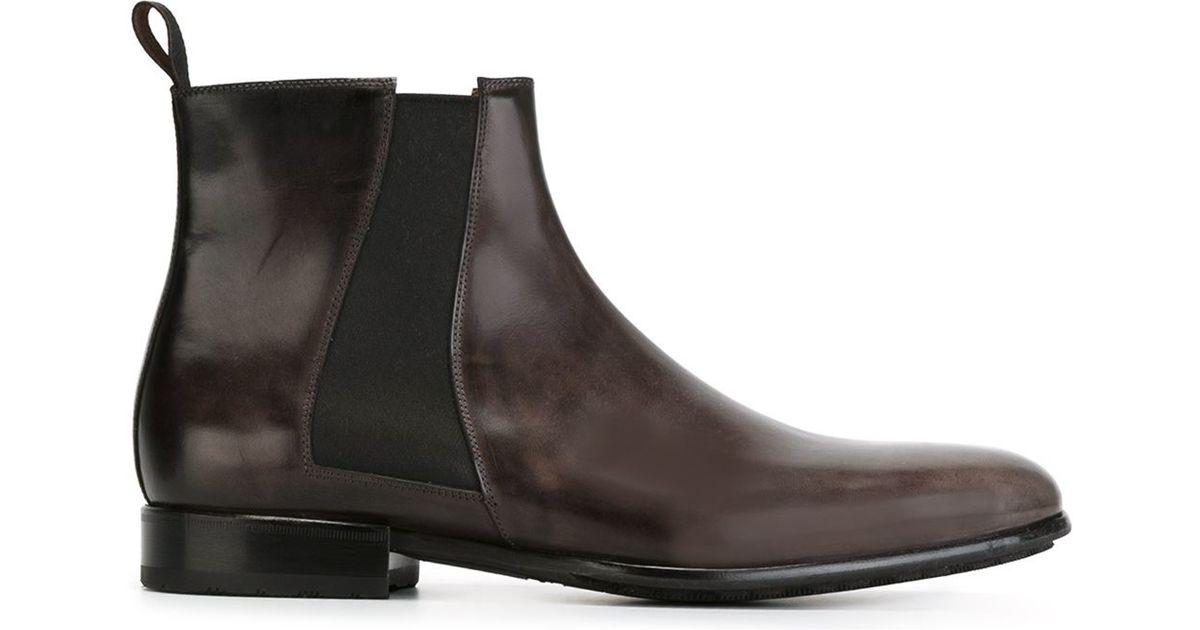 santoni antique effect chelsea boots in gray for men lyst. Black Bedroom Furniture Sets. Home Design Ideas