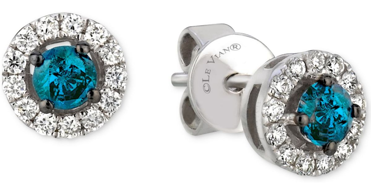 Lyst Le Vian White And Blue Diamond Stud Earrings 1 2 Ct T W In 14k Gold