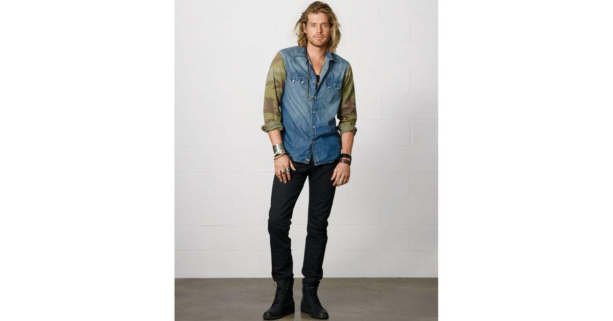 285f29be8e Lyst - Denim   Supply Ralph Lauren Camosleeve Western Shirt in Blue for Men