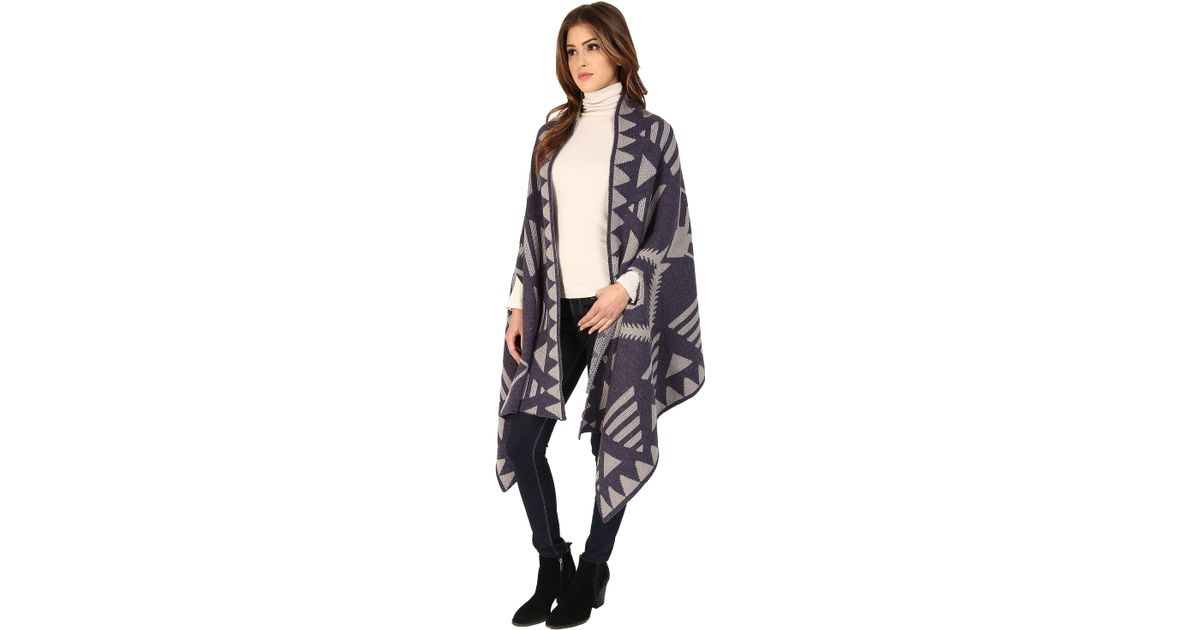 Lyst - Michael Stars Plaid To See You Cape in Black 6d65fed1b
