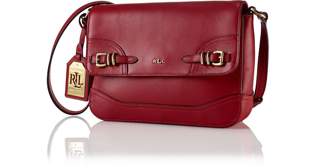 21d259ca34bc7 ... where can i buy lyst lauren by ralph lauren lauren leather crossbody bag  in red b6335