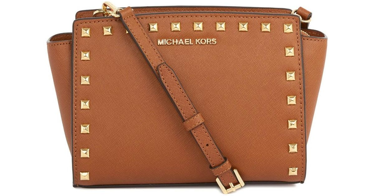 3c5b553c361b ... norway michael kors selma studded tan leather crossbody bag in brown  lyst 6f25f 8d8cb