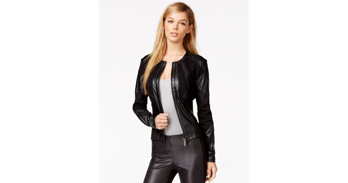 95186d64 Guess Faux-leather Mesh-detail Jacket in Black - Lyst