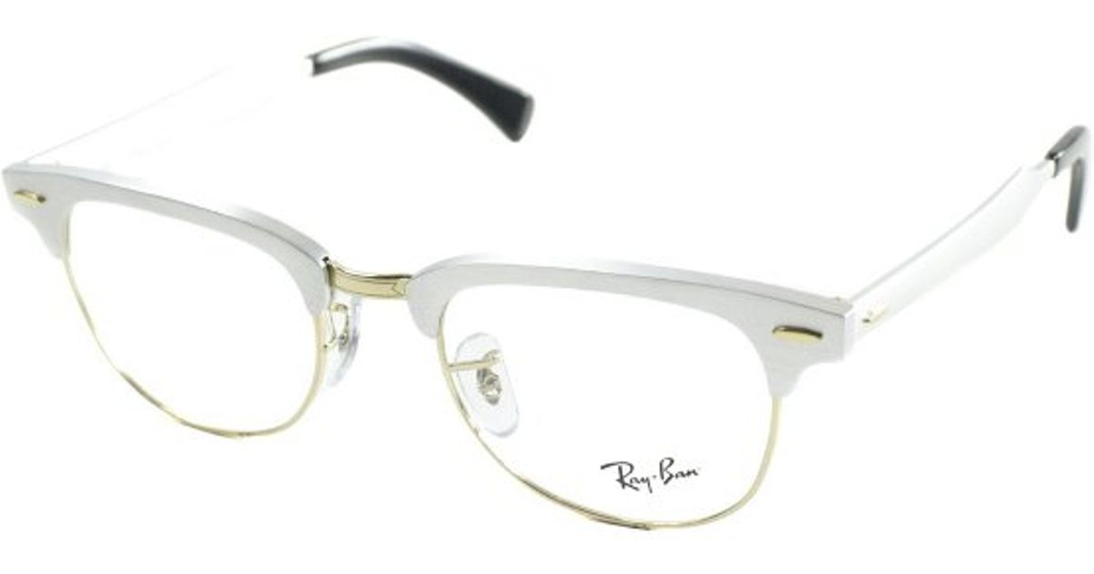 d39738752c ... purchase lyst ray ban ray ban rx6295 aluminum clubmaster 2806 brushed  silver and gold metal eyeglasses