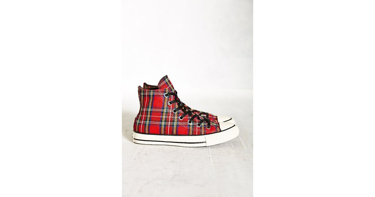 0bb641153acb Lyst - Converse Conserve Chuck Taylor All Star Tartan High-Top Women S  Sneakers in Red