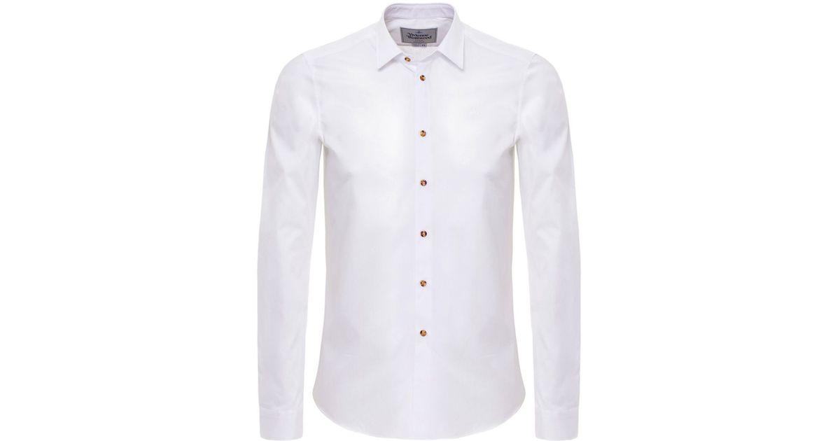 Vivienne westwood slim fit cutaway collar shirt in white for White cutaway collar shirt