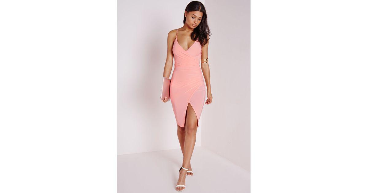 330731dc90 Missguided Slinky Strappy Asymmetric Bodycon Dress Blush in Pink - Lyst