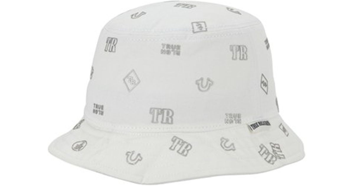 216be524816b8 Lyst - True Religion  monogram  Twill Bucket Hat in White for Men