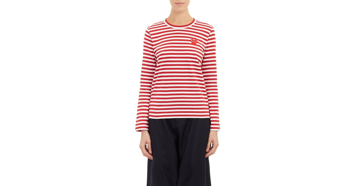 Play Comme Des Gar Ons Striped Long Sleeve T Shirt In Red