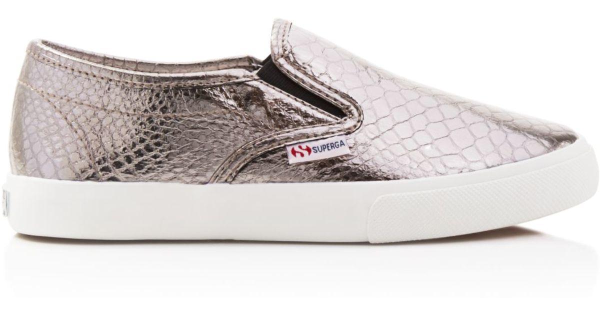 Lyst - Superga Metallic Snake-embossed Slip On Sneakers in Metallic daa693229