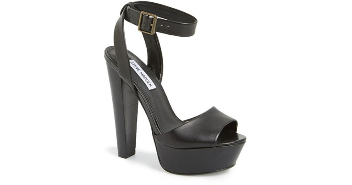 5c1b483e9e9 Lyst - Steve Madden  gingeer  Leather Platform Sandal in Black