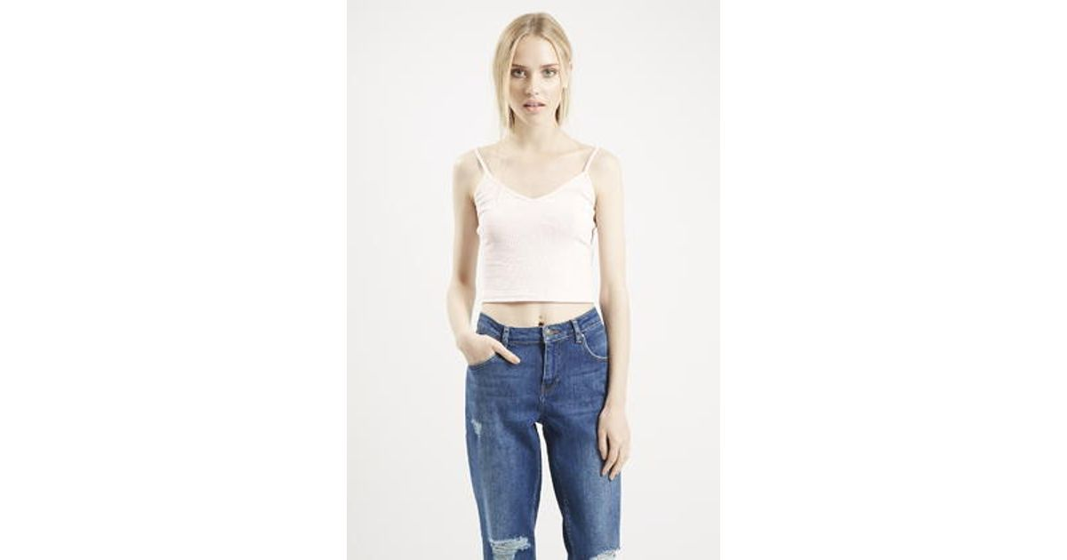73a4083c33141 TOPSHOP Petite Ribbed Cropped Cami in Pink - Lyst