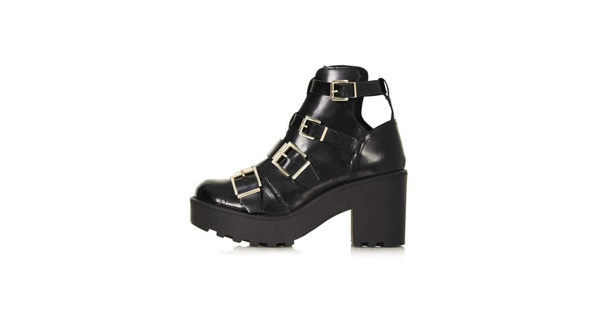 ed5672fa2e73 Lyst - TOPSHOP Agra Chunky Buckle Boots in Black