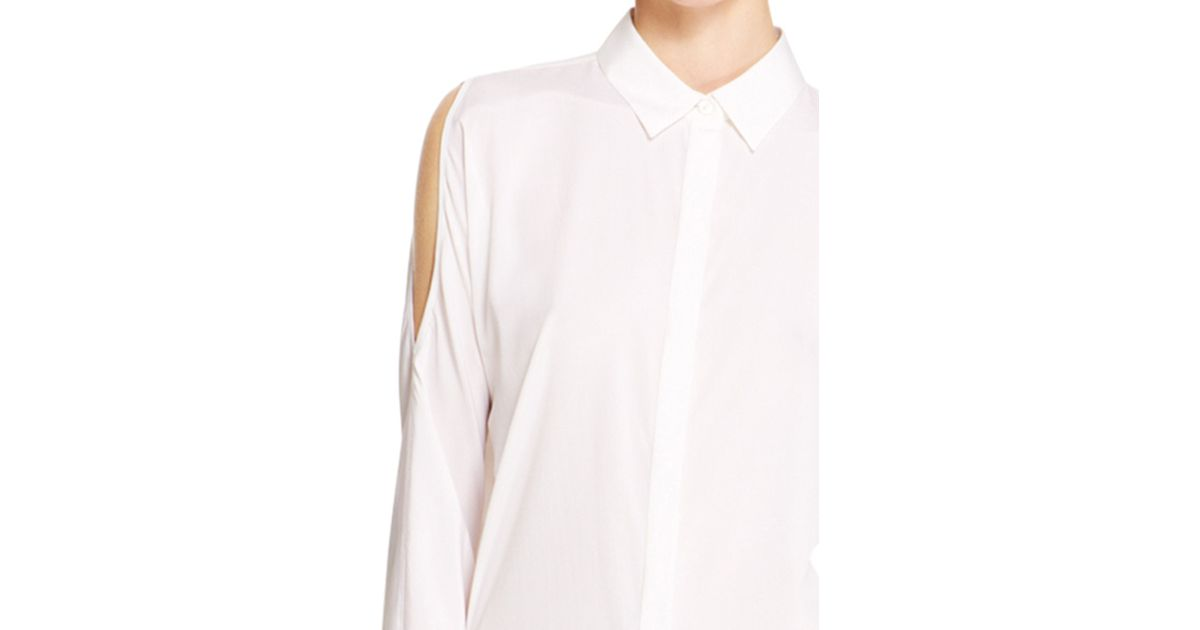 0f0d50e50d75c Lyst - DKNY Cold Shoulder Blouse in White