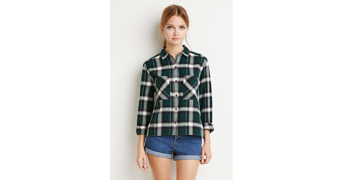Forever 21 Boxy Plaid Flannel Shirt In Green Cream Green