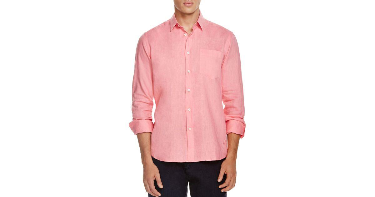 Vilebrequin Linen Button Down Shirt Regular Fit In Pink