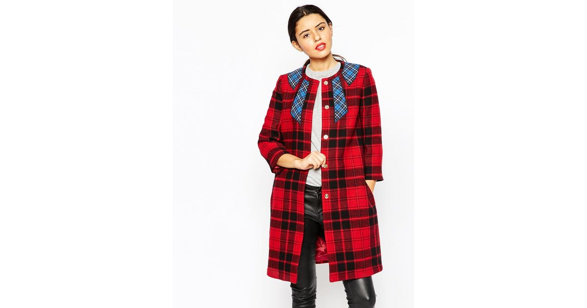 Love moschino Tartan Coat With Blue Tartan Neck Bow Emroidery in