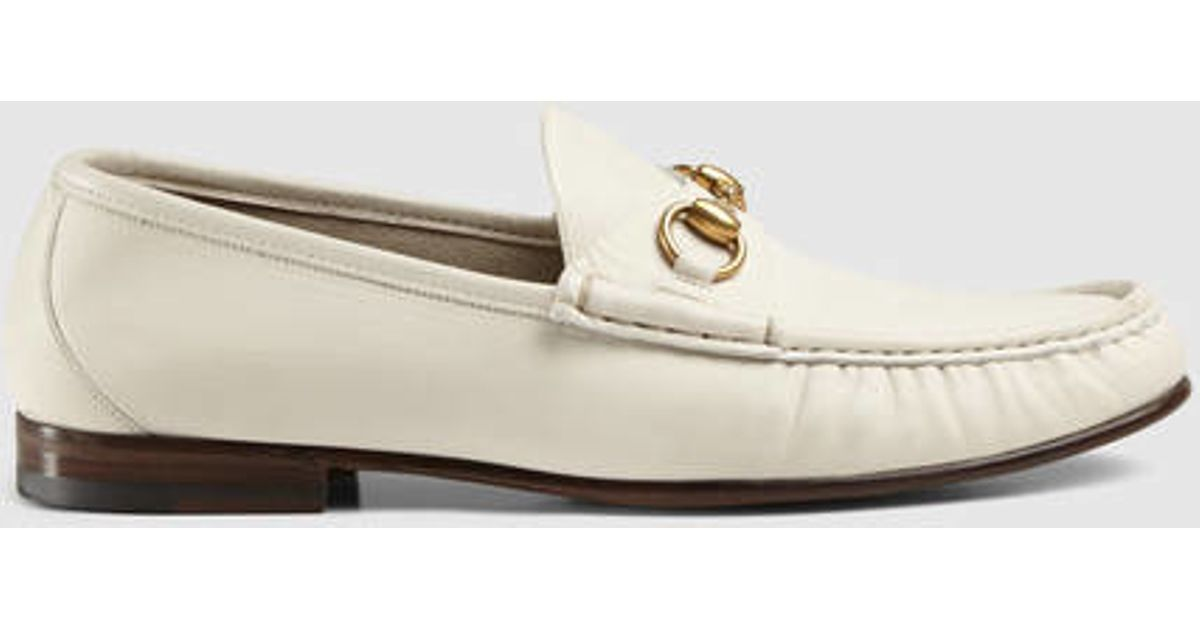 7756110bf97 Lyst - Gucci 1953 Horsebit Leather Loafer in White for Men