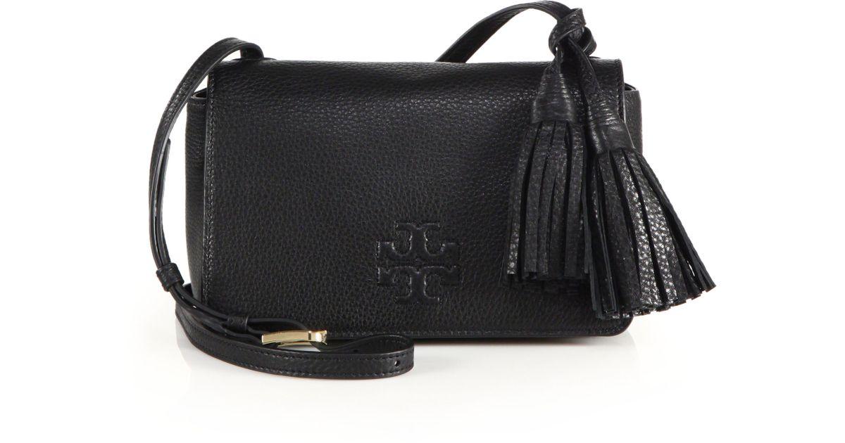 097a65070af1 Lyst - Tory Burch Thea Mini Leather Tassel Crossbody Bag in Black