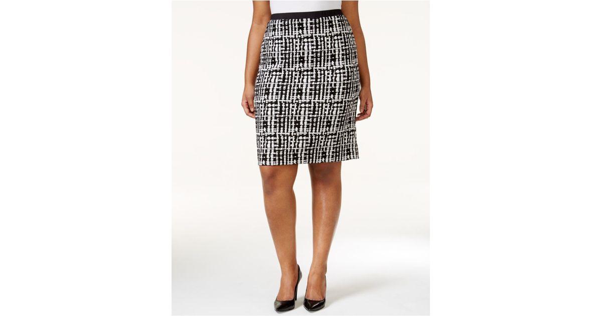 calvin klein plus size jacquard pencil skirt in gray