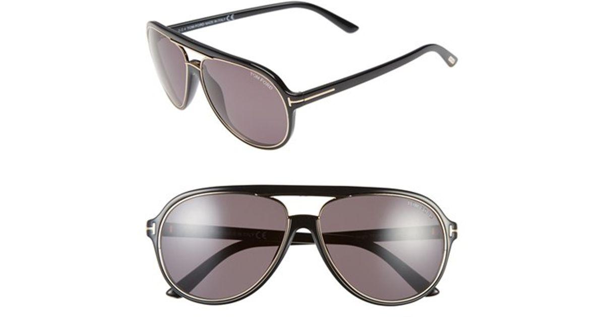 c3ad55444125 Lyst - Tom Ford 'sergio' 60mm Aviator Sunglasses - Shiny Black/ Rose Gold/  Grey in Black for Men