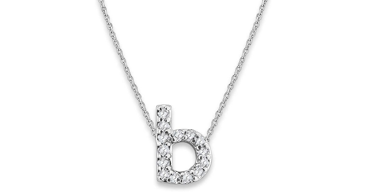 kc designs white gold diamond letter b necklace lyst