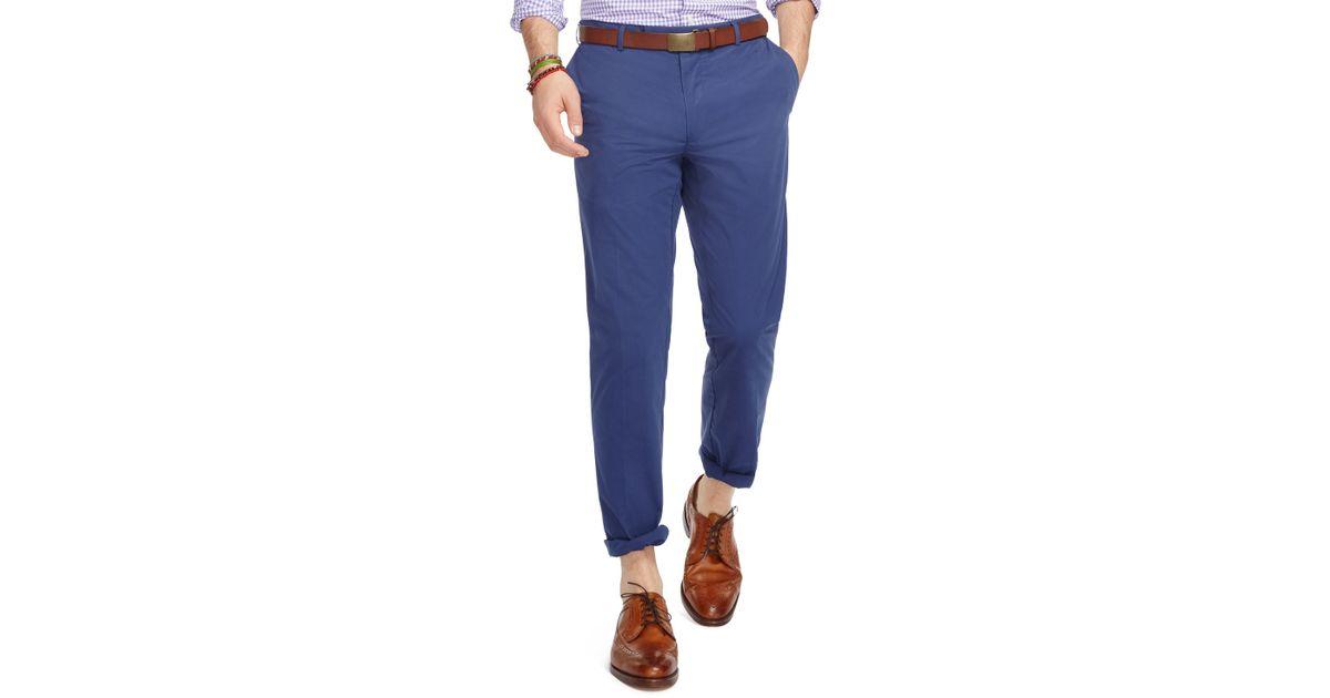 polo ralph lauren hudson slim fit pants in blue for men lyst. Black Bedroom Furniture Sets. Home Design Ideas