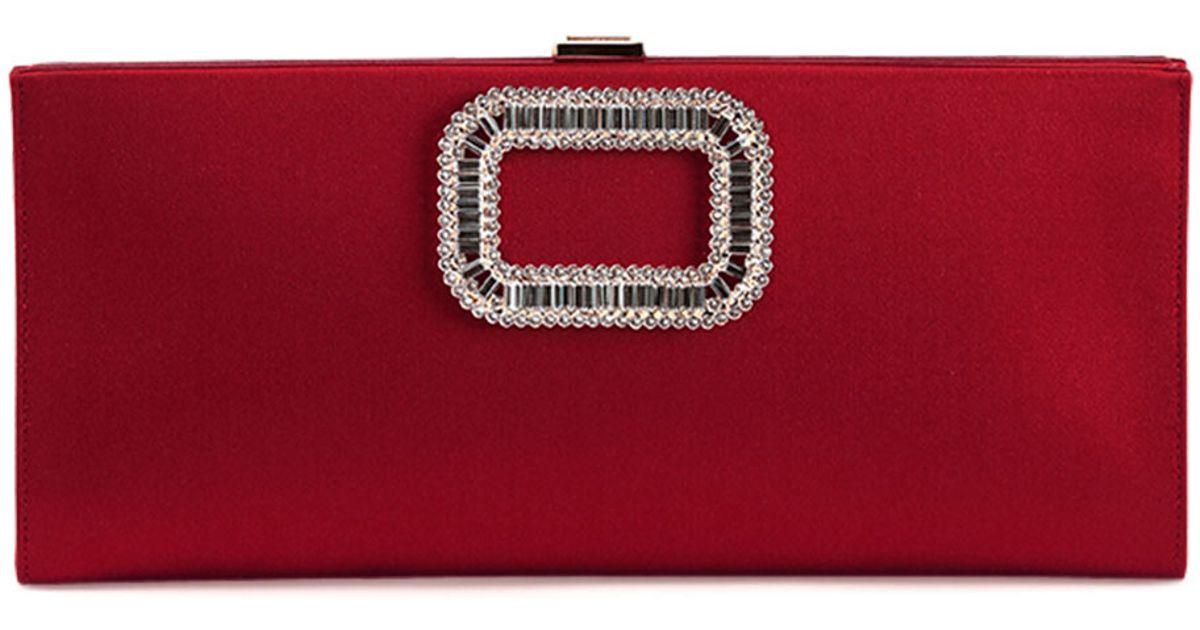 Lyst - Roger Vivier Crystal Pilgrim Buckle Clutch Bag in Red c1c3e70abc180