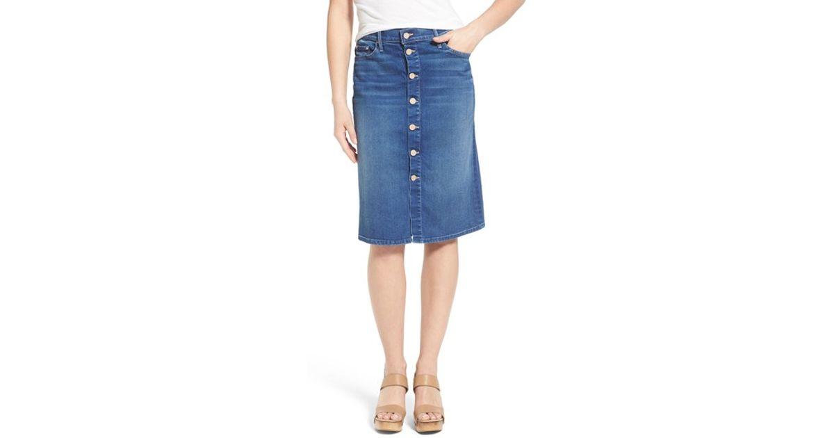 high rise button front denim skirt in blue lyst