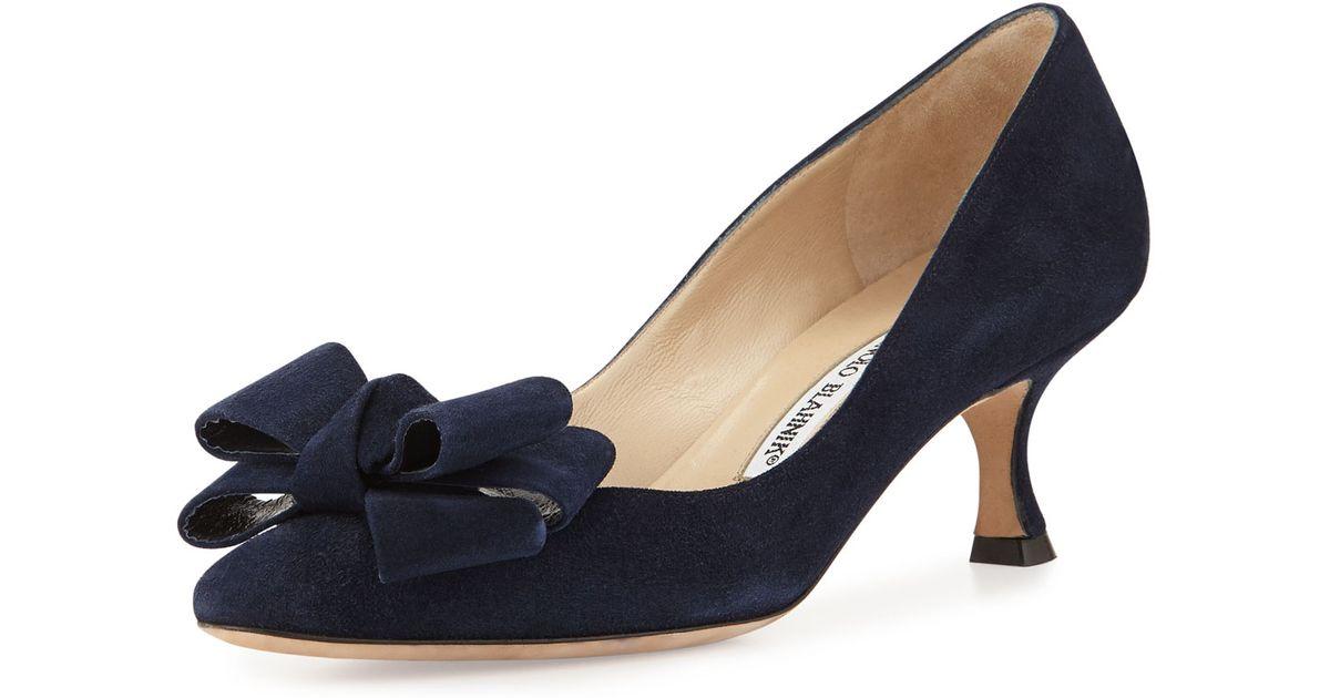 c5fa68fd67d ... shop manolo blahnik lisane suede bow kitten heel pump in blue lyst  35848 3fe85