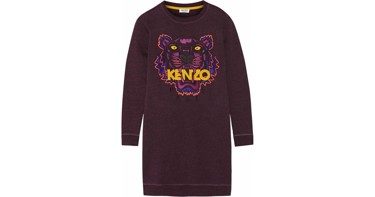 c555bbb0 KENZO Tiger Embroidered Cotton Sweatshirt Mini Dress in Purple - Lyst