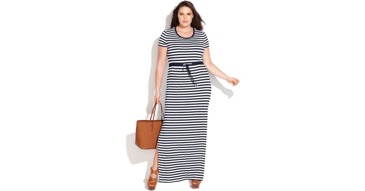 e6610c8d4be Lyst - Michael Kors Michael Plus Size Shortsleeve Striped Maxi Dress in Blue