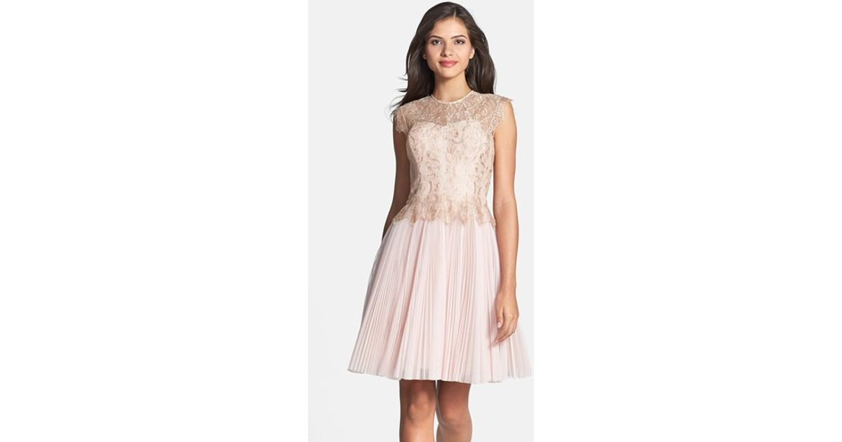 f2fb47fd416 Ted Baker  remma  Metallic Lace Overlay Fit   Flare Dress in Natural - Lyst