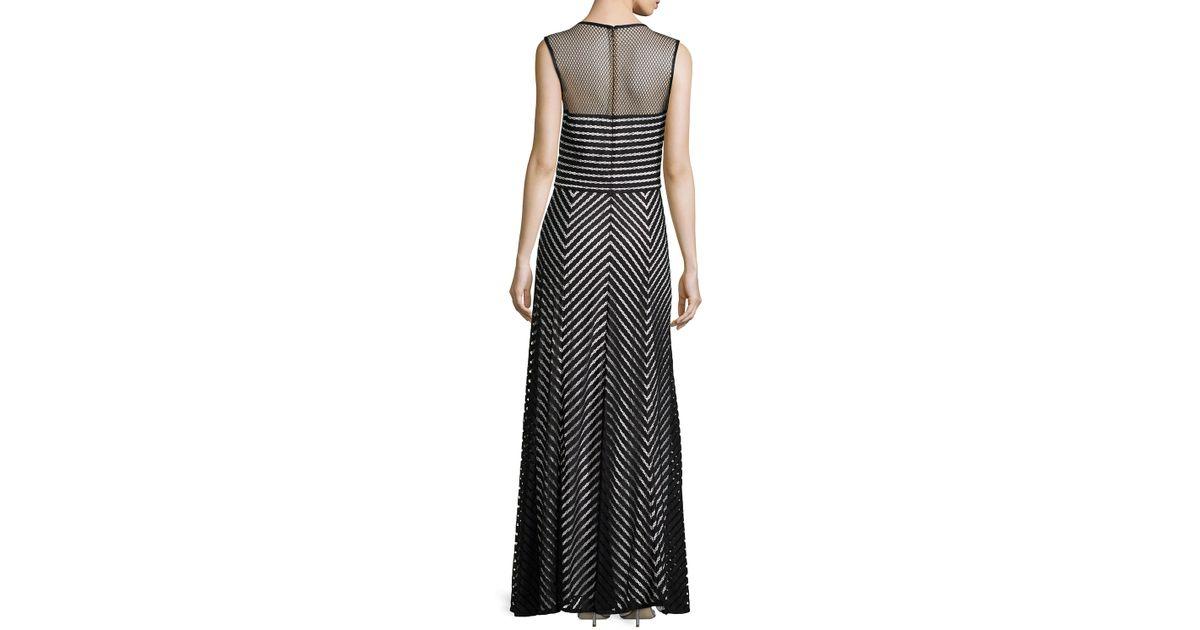Lyst - Tadashi Shoji Sleeveless Jewel-neck Chevron Gown in Gray