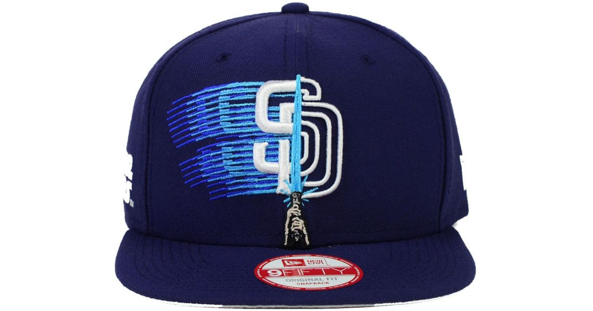 low priced 428b2 07738 ... germany store lyst ktz san diego padres star wars logoswipe 9fifty  snapback cap in blue for