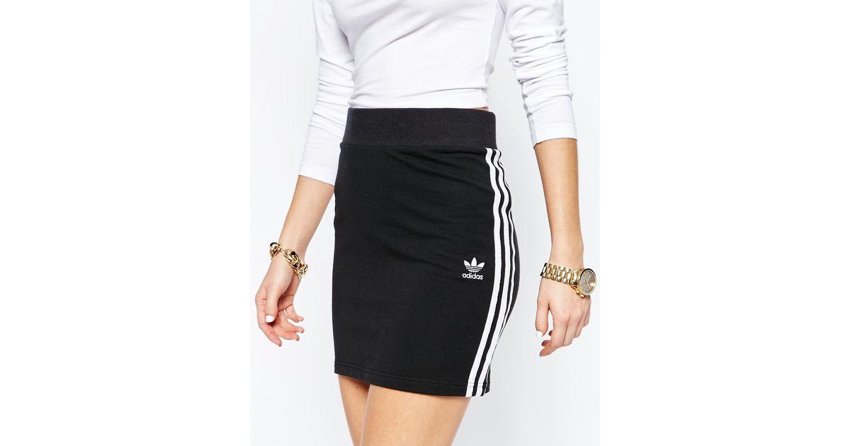 83ee2e3df273 Lyst - adidas Originals Originals Adicolour Mini Bodycon Skirt With 3 Stripe  Logo in Black